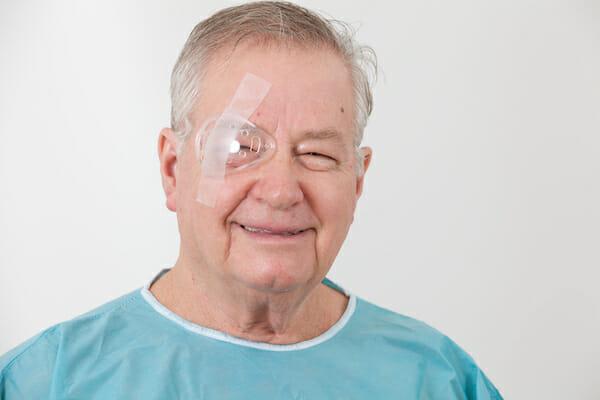 Senior man with eye surgery