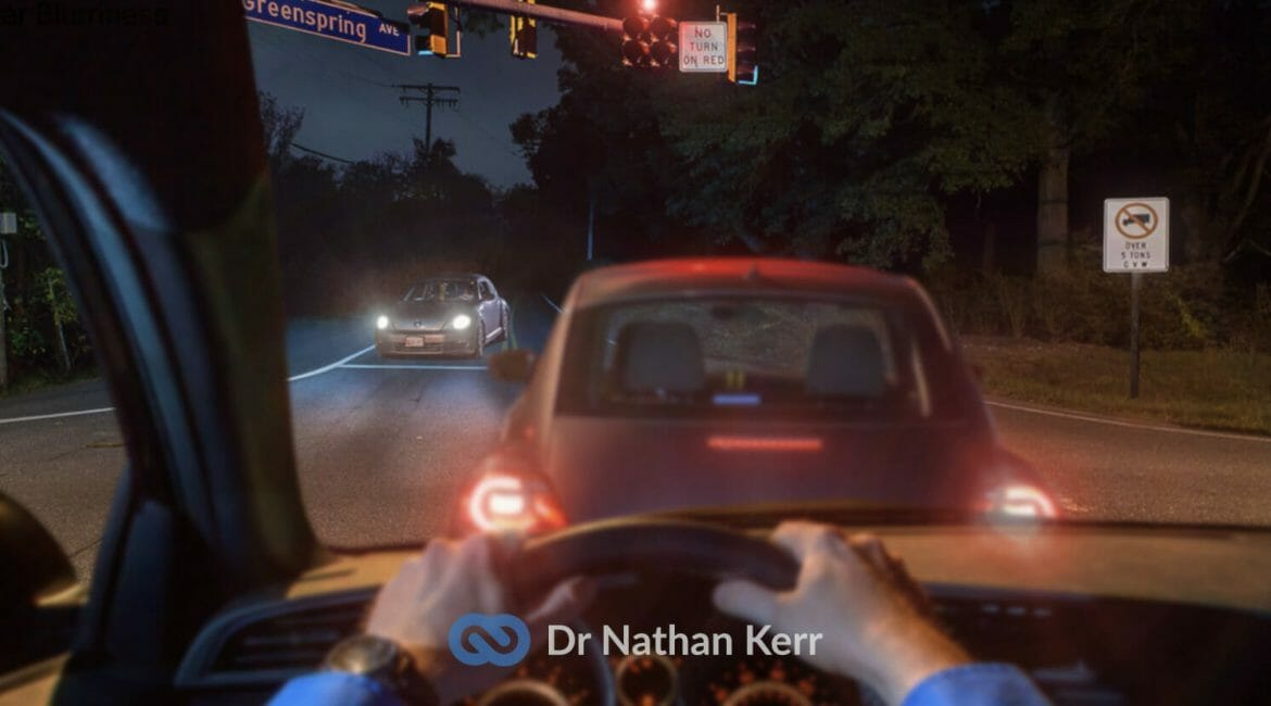 Simulated view driving at night with a multifocal lens after cataract surgery